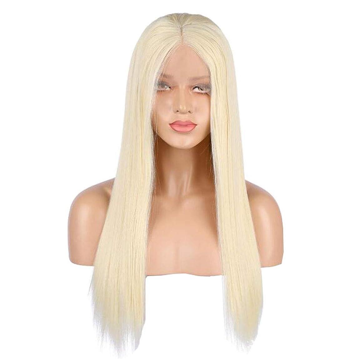 申し立てられたパッチクロス女性のためのかつらホワイトナチュラルルッキングロングストレートミドルハーフハンド結束耐熱ファイバーヘアピースヘアエクステンション,22inch