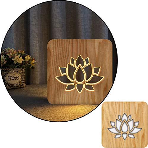 ZEwe Lotus 3D Lotus Tallado Tallado Blanco lámpara de Mesa de luz, lámpara de Noche 2.5w, lámpara de vivero, decoración del hogar o Regalos para niños y Adultos, Sala de Estar de Dormitorio