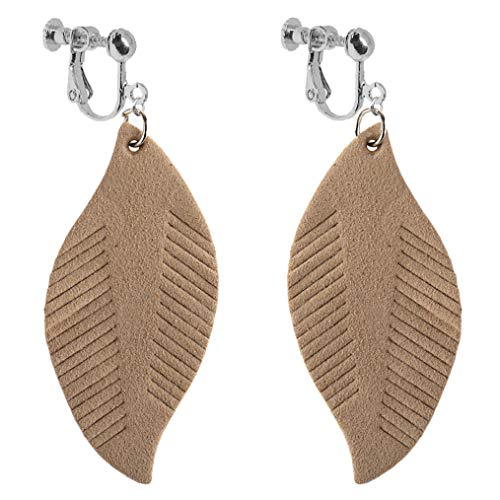 Soft Leather Leaf Dangle Clip on Earrings for Girl Women Fringe Feather Drop Punk Chic Pendant Large