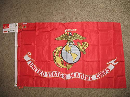 YeeATZ Marine Corps USMC Seal 3X5 Nylon Flag/Heavy Duty/Pin & Clips