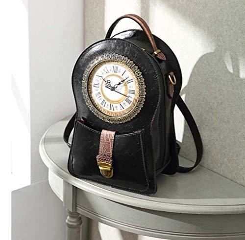 YBQ Sample Hombros Negros Creativas Posterior del Hombro del Bolso del Mensajero De Las Baterías AA Reloj Retro Bolsa De Envasado Puede Caminar (21 * 14 * 31cm) Fashion (Color : Black)