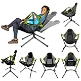 LightClouds Beach Chairs Folding Camping Chair Recliner Chair with Cushion Adjustable Rocking Chair Outdoor Chair Ultralight Convenient and Comfortable Chair (Green)