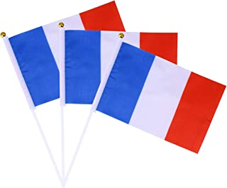 Amosfun 12 stks/Pack Hand Held Frankrijk vlaggen Franse Nationale Hand Vlag met stokken 14x21cm