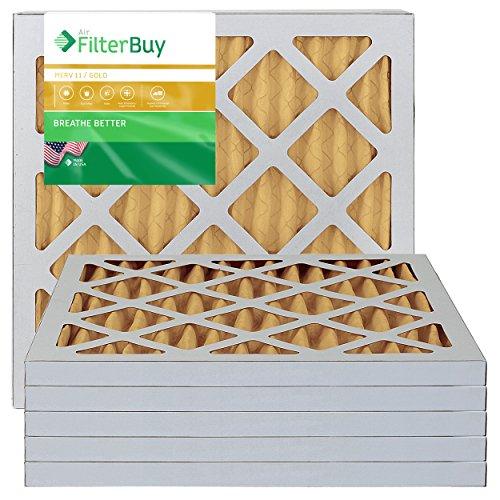 FilterBuy 12x12x1 Air Filter MERV 11, Pleated HVAC AC Furnace Filters (6-Pack, Gold)