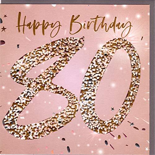 Belly Button Designs hochwertige Glückwunschkarte zum runden 80. Geburtstag.