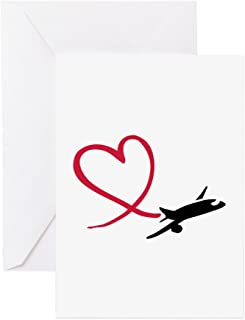 CafePress Airplane Red Heart Greeting Card, Note Card, Birthday Card, Blank Inside Glossy