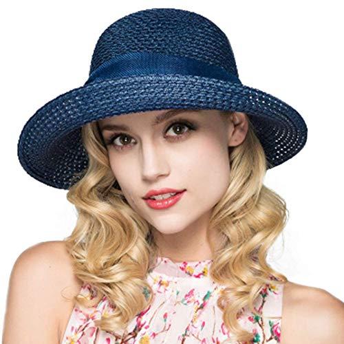 Kqpoinw Sonnenhut, Damen Strohhut Faltbare Kappe Floppy breiter Krempe Sommer Strand Hüte für Frauen Mädchen (Blau)
