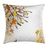 Funda de cojín Nature Throw Pillow, otoño Hojas de Arce Ramas en otoño Tonos de Tierra Se desvaneció Lámina de Bosque 18'X18, Amarillo Tostado