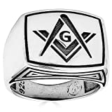 Solid 925 Sterling Silver Mens Masonic Ring - Plain Silver Men's Freemason Ring- Size 7-13 (13)