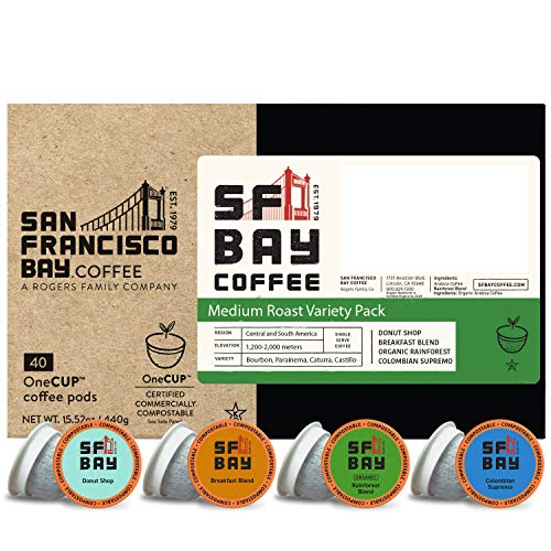 SF Bay Coffee OneCUP Medium Roast Variety Pack 40 Ct Compostable Coffee Pods, K Cup Compatible including Keurig 2.0 Florida