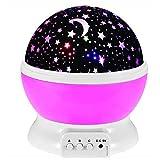 BESTINE Proyector de Luz Nocturna, Rotación de 360° Estrella Silenciosa Luz Nocturna Lámpara Led Luna Luces Colores Cambiables para Bebés Niños Guardería Dormitorio Decoración Regalo (Pink)
