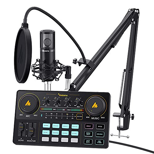 Audio Interface with DJ Mixer and Sound Card, Maonocaster Lite Portable ALL-IN-ONE Podcast Production Studio with 3.5mm Microphone for Guitar, Live Streaming, PC, Recording and Gaming (AM200-S6)