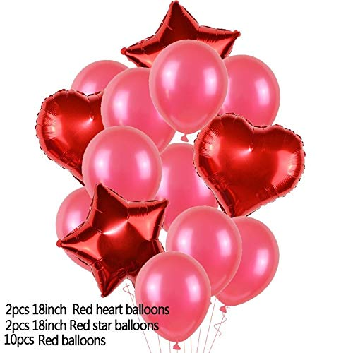 Car - NY 14Pcs/Set Heart Star Aluminium Foil Balloon Latex Balloons for Kids Birthday Wedding Party Decor Inflatable Air Globos Supplies