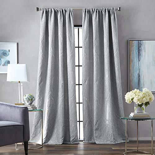 MARTHA STEWART Milan Room Darkening Lined Rod Pocket Single Curtain Panel, 84-inch, Grey