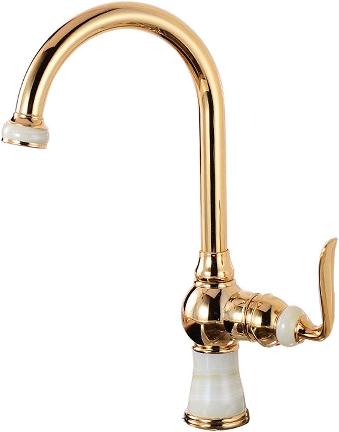 SEEKSUNG Kitchen Sink Mixer Taps,Single Handle One Hole Electroplated Standard Spout Free Standing Ordinary Kitchen Taps,for Kitchen Bathroom Sink