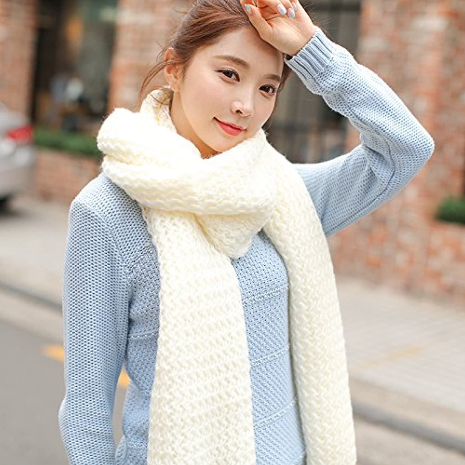 MDRWWinter Scarf The New Female Winter Scarf Wool Scarf Scarf color AllMatch Student Couple Thickened Knitting