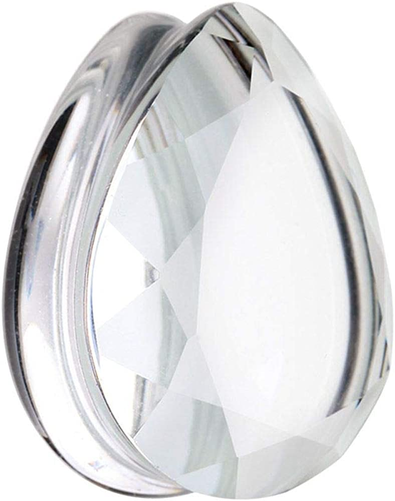 Covet Jewelry Faceted Single Side Glass Double Flared Tear Drop Ear Gauge Plug