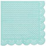 """20 Papier-Servietten mit Weißem Spitzen-Perlen-Muster und Wellenrand in Mint-Grün """"White Lace"""""""