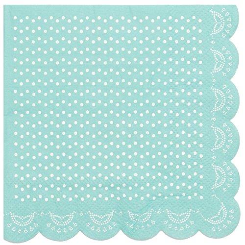 """InviteMe 20 Papier-Servietten mit Weißem Spitzen-Perlen-Muster und Wellenrand in Mint-Grün """"White Lace"""""""