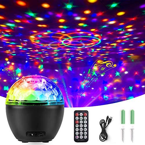 LED Discokugel, Qxmcov Projektor Lampe Partylicht mit Fernbedienung USB-Kabel 16 Farbe Modi 8 Stufen Lichtmodus, Bluetooth Musikspieler Magie Discokugel für Weihnachten Xmas Party Bar Club Dekoration