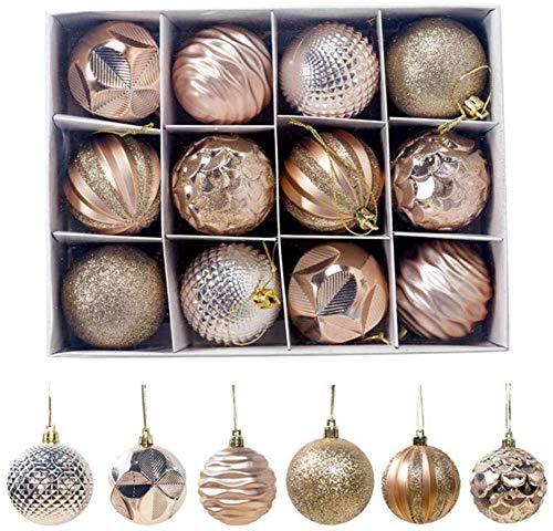 Richaa 12PCS Bolas de Navidad, 6 cm Bolas de árbol de Navidad Bola de árbol de Navidad Decoración Colgante para el hogar Bola para árbol de Navidad Adornos Decorativos