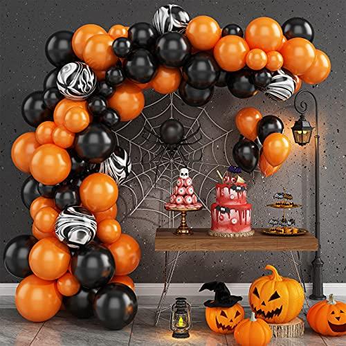Kit de Guirnalda de Globos de Halloween, 87 Pcs Negros y Naranjas Halloween Kit de Arcos de Globos, Látex Globos de fiesta Para decoración de suministros de fiesta de Halloween Boda Cumpleaños