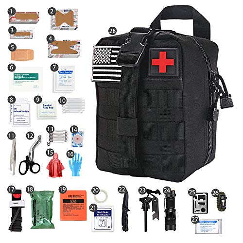 LAOZYBF [2020 Upgrade] Medical Reinforcement First Aid Supplies First Aid Kit for Camping and Hiking Molle Outdoor Emergency Survival Kit for Car Travel Camping Hunting Hiking and Adventures