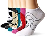 Disney womens Nightmare Before Christmas 5 Pack No Show Casual Sock, Assorted Multi, Fits Sock Size 9-11 Fits Shoe Size 4-10.5 US
