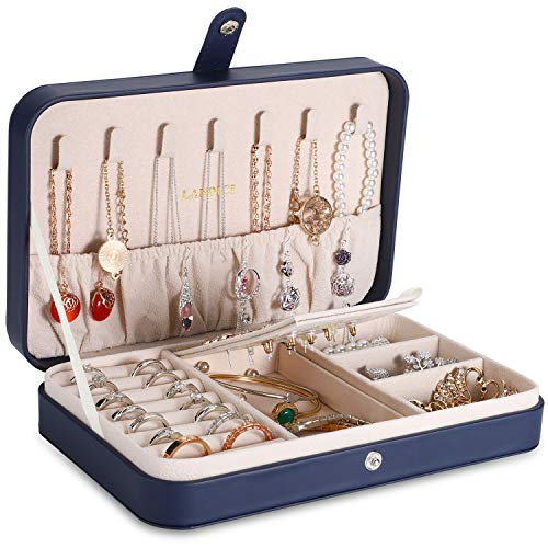 LANDICI Jewellery Box Organiser for Girls Women,Small Travel Jewelry Storage Case,PU Leather Jewellery Holder Tray Display for Ring Earrings Necklace Bracelet Bangle Ladies Mens Kids Gift,Dark Blue
