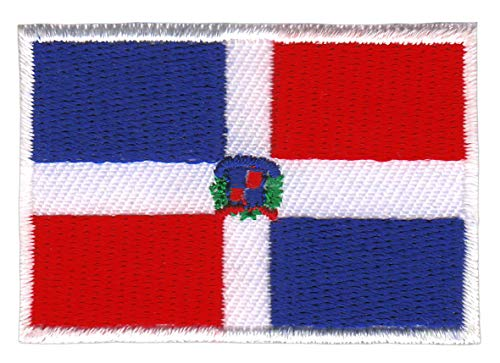 Bestellmich Dominikanische Republik Flagge Klein Aufnäher Bügelbild Größe 4,7 x 3,2 cm