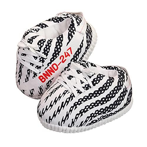 iPantuflas | Zapatillas Casa de Sneakers Yeezy Unisex Hombre Mujer | Talla única 35-43 | Pantuflas Originales para Regalar | Zapatillas de Invierno Divertidas Calentitas para el hogar (Zebra)