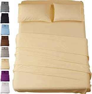 Sonoro Kate Bed Sheet Set Super Soft Microfiber 1800 Thread Count Luxury Egyptian Sheets 18-Inch Deep Pocket Wrinkle and Hypoallergenic-4 Piece(Full Ivory)