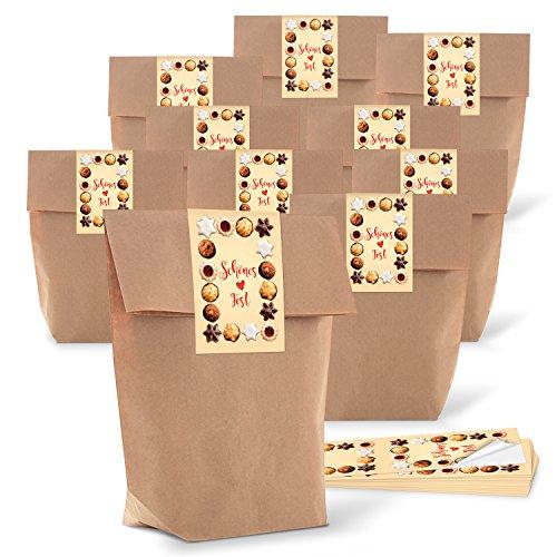 25 braune natur Weihnachtstüten Geschenktüten Papiertüten 14 x 22 x 5,6 cm + 25 Stück rot braun beige natürliche Aufkleber Weihnachts-Etiketten 5 x 15 cm SCHÖNES FEST Weihnachts-Plätzchen Verpackung