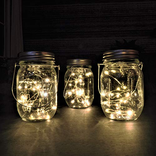 Gadgy  Lámpara Solar Mason Jar Tarro Cristal Set Luces de Hadas | 3 Pzs | 20 LED's Luz Blanca Cálida | Jarra Jardín Exterior Interior Colgar Farol
