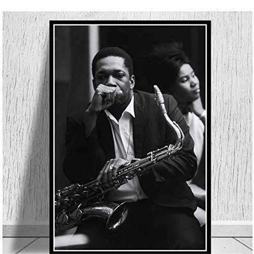 A&D Malerei Kunst John Coltrane Jazz Musiker Musik Sänger Star Poster Und Drucke Wandkunst Wandbilder Für Wohnzimmer Wohnkultur-50x70 cm Kein Rahmen