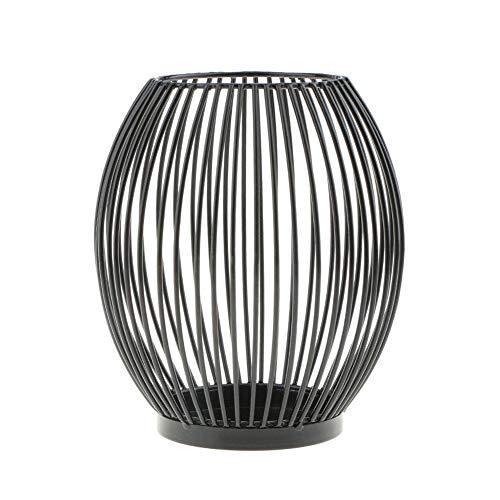 wuudi Farolillos portavelas decoración vintage de hierro forjado Juego de 2 (M + L), color negro, portavelas decorativo ovalado, 14 x 15,5 cm y 16 x 18 cm, San Valentín, boda