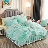 JAUXIO Luxuriöses langes Kunstfell, 2-teiliges Bettwäsche-Set, zottelig, Bettbezug mit Kissenbezug, ultraweiche Rückseite aus Kristallsamt, 2 Stück, Aquamarin