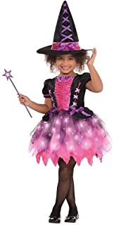 Light-up Sparkle Witch Halloween Costume for Girls, Small, with Included Accessories, by Amscan