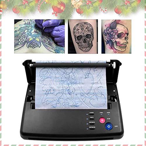 TOPQSC Tattoo Transfer Maschine,Thermodrucker Tattoo Thermokopierer mit 10 Stück Thermische Tattoo Transfer Maschine Druckergerät Schablonen Thermokopiere Drucker Thermoschablonenkopierer (Schwarz)