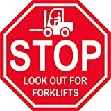 'Stop Look Out for Forklifts'- Durable Laminated Vinyl Floor Sign- (Various Sizes Available) Sign by Graphical Warehouse- 5S Safety and Security Signage, Visual Communication Tool (12')