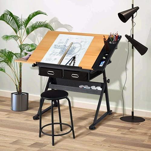 Dripex Mesa de Dibujo Profesional con Tablero Inclinable Altura Ajustable, Artista de Pintura Arquitecto Dibujo Escritorio de Computadora con Taburete y 2 Cajones, Adecuado para Oficina Casa (TypeA)