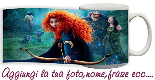 Tazza Principessa Merida Ribelle The Brave Cartoni Disney Personalizzata con Nome ECC