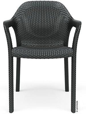 Lechuza – Fauteuil empilable d'Extérieur et d'Intérieur – Mobilier De Jardin – Coloris Granit – 58 x 57 x 84 cm