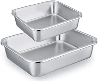 TeamFar Lasagna Pan Set of 2, Brownie Pan Rectangle Cake Pan Stainless Steel, Heavy Duty & Healthy, Easy Clean & Dishwasher safe, Brushed Surface-13 & 10 inch