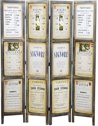 Biscottini Separé 'TARIFFARIO' in Legno con Decorazione Vintage bifacciale L141xPR2xH180 cm