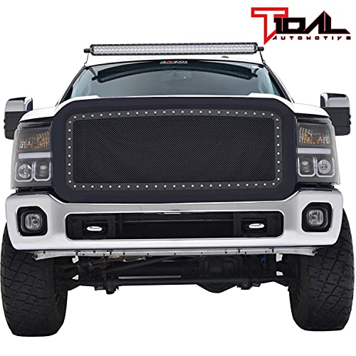 Tidal Front Rivet Matte Black Stainless Steel Wire Mesh Grill With Shell Fit for 2011-2016 Super Duty F250/F350/F450/F550