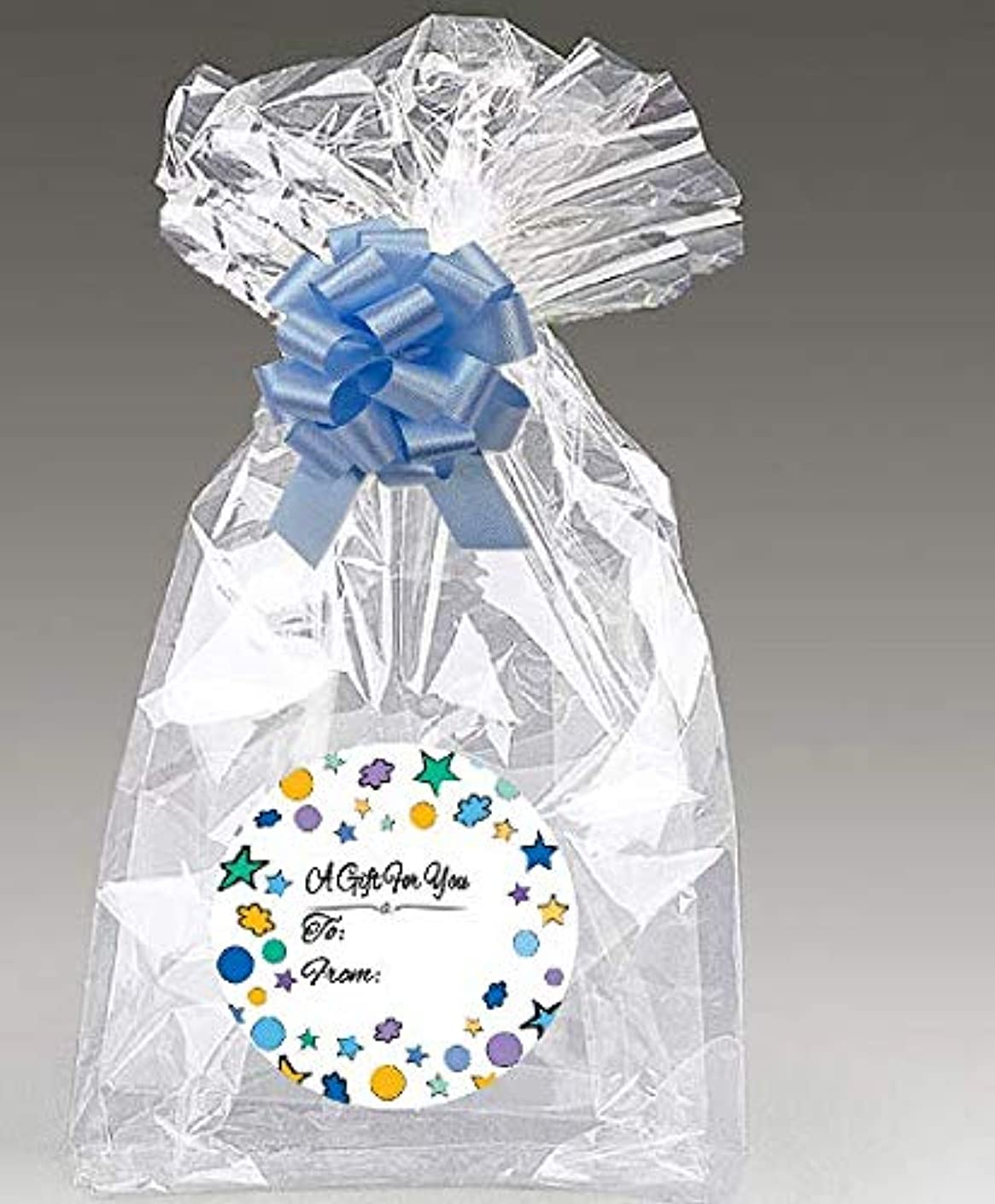 Blue Stars 2Pack Designer Cello Bags/Tags/Bows Cellophane Jumbo Gift Basket Packaging Bags Flat 30