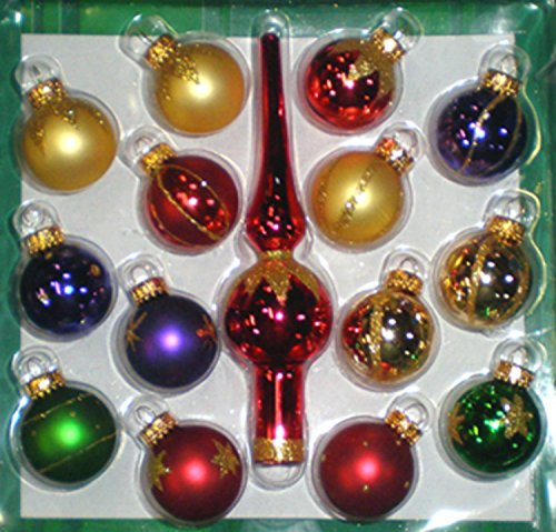 Set of 15 Multi-Color Mini Glass Ball Christmas Ornaments and Finial Tree Topper