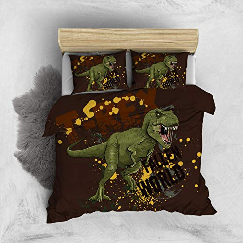 PANDAWDD Silky Soft Microfiber Duvet Cover Set Super King - 220x260cm Gothic dinosaur, 3 PCS with Pillow Case Bedding Set, Smooth Feeling with Zipper, Hypoallergenic & Breathable Quilt Cover Set