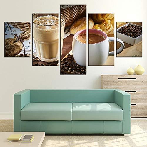 NR 5 Stücke Kaffeetasse Und Kaffeebohne Wandkunst Modulare Bilder Für Küche Decor HD Leinwand Malerei Wohnkultur Poster